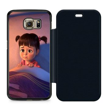 Monsters Inc Boo Cry Leather Wallet Flip Case Samsung Galaxy S6
