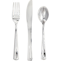 Silver Metallic Plastic Cutlery Assortment/Case of 288