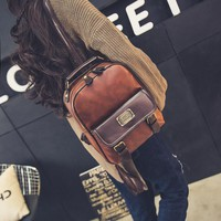 Women backpack female brand back pack college style leather