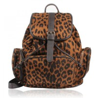 ZLYC Sexy Leopard Print Leather Backpack