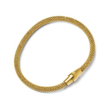 18k Gold Plated Sterling Silver 5mm Popcorn Mesh Chain Bracelet, 7.5in