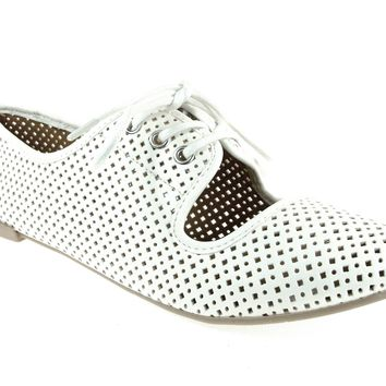 Women's Qupid Perforated Lace Up Flat Shoes Salya-747 White
