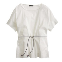 J.Crew Womens Drawstring Top In Stretch Cotton