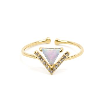 Open V Pave Ring