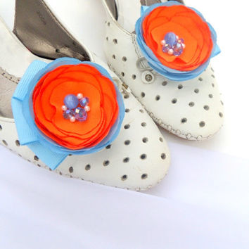 Shoes Clips , Orange and light blue flowers Silk Flower Orange Wedding , Accessories wedding , Accessories for women , Shoe Accessories