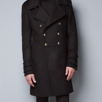 BLACK MILITARY COAT - Coats - Man - ZARA United States