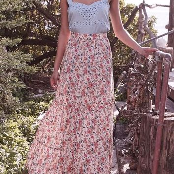 Beige Floral Pockets Draped High Waisted Sweet Bohemian Skirt