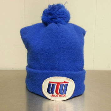 Vintage 80s 90's UTU (United Transportation Union) Beanie Toboggan Blue Poly Blend Made in USA Train Hat Cap