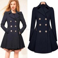 Hot Womens Slim Coat Double Breasted Peacoat Lapel Long Outwear Trench Coat AR6