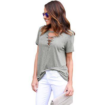 Gray Short Sleeves Lace up Slub Cotton Tee