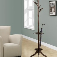 Cappuccino Solid Wood Coat Rack with An Umbrella Holder