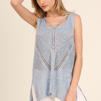 Sweater Tank with Lace Up Back