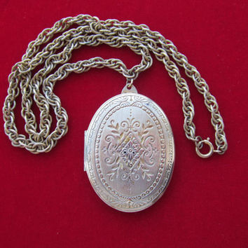 Signed Miriam Haskell locket necklace vintage 1950s