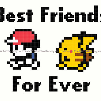 Pokemon - Ash and Pikachu Best friends for Ever Cross Stitch Pattern 7x5 - PDF Instant Digital Download