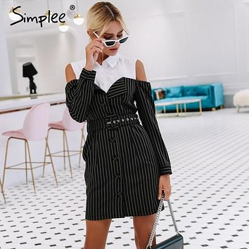 Simplee Elegant fake two piece stripe women dress Office lady sash long sleeve mini dress 2018 Autumn winter blazer blouse dress
