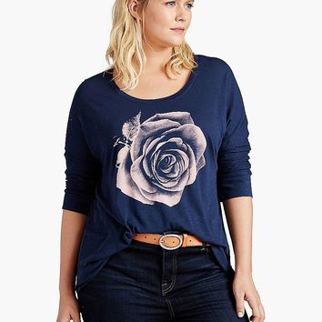 Lucky Brand Photographic Rose Tee Womens - American Navy