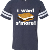 Kids Camping Shirt, I Want Smore Shirt, Matching Family Camping Tshirt, Mens Campfire Outfit, Toddler Smore Clothes, Kids Hiking Outfit Tee