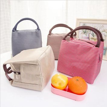 Leisure Women Portable Lunch Bag Canvas Stripe Insulated Cooler Bags Thermal Food Picnic Lunch Bags Kids Lunch Box Bag Tote
