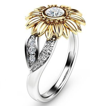 Silver Color Cute Gold Sunflower Crystal Wedding Rings