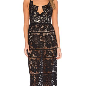 Black V-neck Spaghetti Strap Open Back Asymmetric Hem Lace Dress