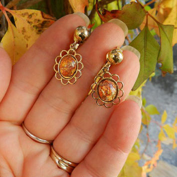 Vintage Faux Fire Opal Foil Glass Earrings / Colorful Confetti Cabochon and Gold Tone Clip Back Earrings