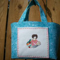 Hand Embroidered Cozy Stitching Lady on Pocket of  Turquoise Blue with White Dot Floral Mini Tote