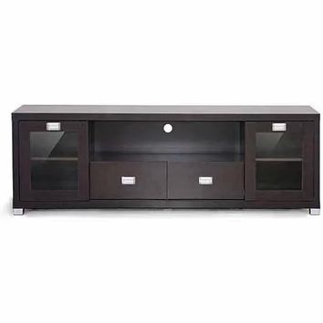 "Wholesale Interiors Gosford Dark Brown Wood Modern TV Stand for TVs up to 69"" - Walmart.com"