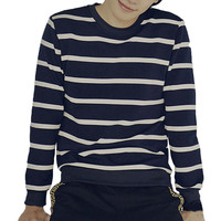 Stripe Color Block Long Sleeve Pullover Shirt