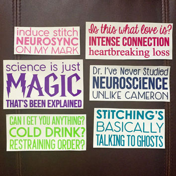 1x 3-line Stitchers Sayings: Cameron, Kirsten, and Camille quotes / Vinyl Decals, Stitchers Inspired Stickers