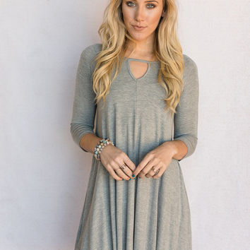 Long Sleeve Keyhole Dress In Gray