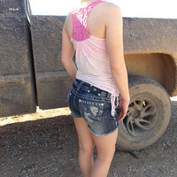 Dyed Pink and White Tank Top - Pink Lace Crochet - Drawstring Sides - Country Style Clothing