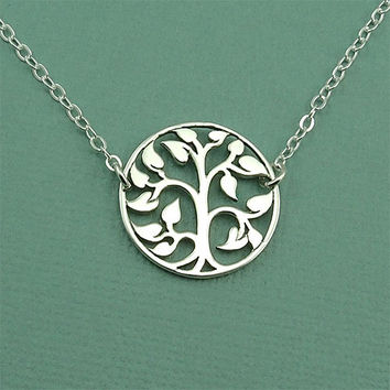 Floating Tree Necklace - handmade sterling silver tree of life charm necklace - yoga - gift