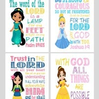 Christian Princess Art Print Set of 4 - Cinderella, Jasmine, Belle, Mulan - Bible Verse Nursery, Playroom or Kid's Room Decor