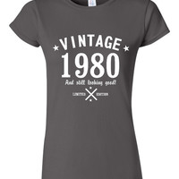 Funtastic Vintage 1980 And Still Looking Good Ladies T-Shirt Great Birthday Gift for 35TH Birthday Tee Gift for Moms & Sister And Friends