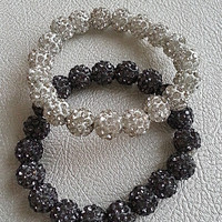 Shamballa Bracelets 10mm beads (Charcoal Gray & White)