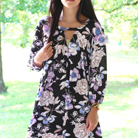 Midnight Romeo Floral Dress {Black}