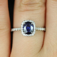 Romani 14kt Cushion Halo Sapphire and Diamond by RosadosBox