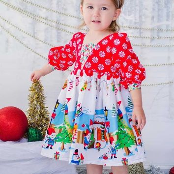 Christmas Cute Baby Kids Girls Long Sleeve Princess Dress Cotton Loose Dress Red