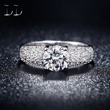 White Gold plated wedding engagement ring for women cz diamond jewelry gift for girl bijoux four claw Rings bague femme DD024
