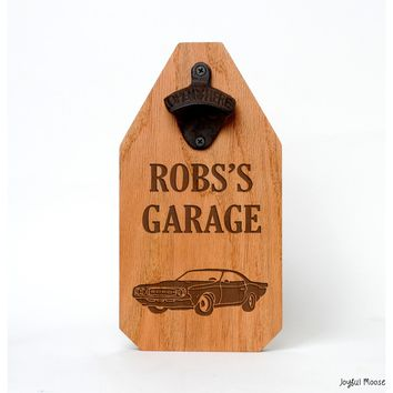 Personalized Wood Sign Garage Sign - Hot Rod Muscle Car Gift - Rustic Old Car Beer Bottle Opener