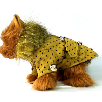 Polka Dot Yellow Faux Fur Collar Dog Coat
