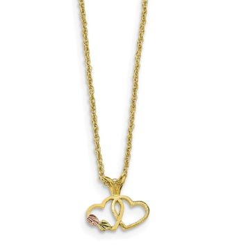 10K Yellow Gold Tri Color Black Hills Gold Double Heart Necklace 18 IN