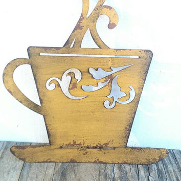 Laser Cut Metal Teacup Kitchen Wall Art - Rustic Yellow - Shabby Chic Rustic French Country Decor