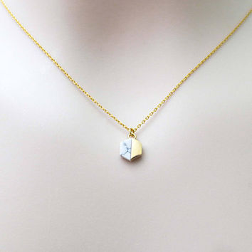 White, Hexagon, Howlite, Gold, Necklace, Lovers, Friends, Mom, Sister, Christmas, New year, Gift