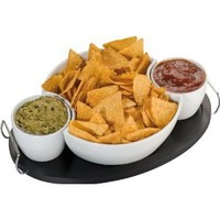 Large Modern Oval Porcelain Snack or Dip Bowl Set on Black Wooden Tray: Amazon.co.uk: Kitchen & Home