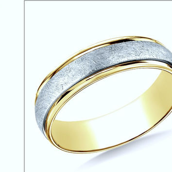 14K Two-Tone 6mm Comfort-Fit Carved Design Band with Florentine Finish