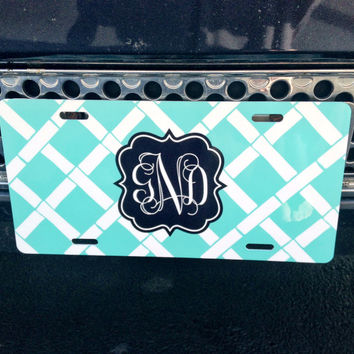 Personalized Monogrammed License Plate Car Tag by rrpage on Etsy