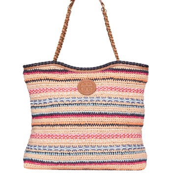 Tory Burch Marion Tote leather and raphia bag