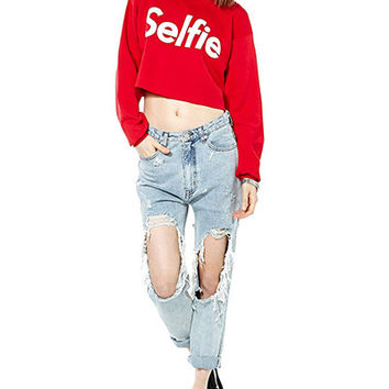 "Red ""SELFIE"" Print Crop Tank Sweater"