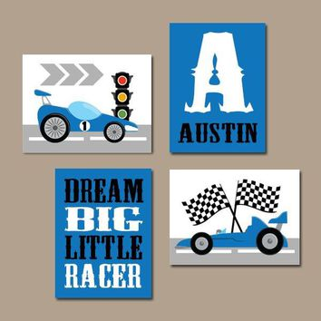 RACE CAR Wall Art, Big Boy Room Decor, CANVAS or Prints, Cars Boy Nursery Decor, Transportation Theme, Dream Big Little One, Set of 4
